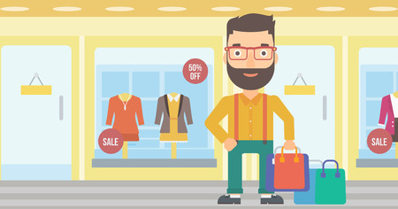 A hipster man with bags on the background of boutique window with dressed mannequins vector flat design illustration. Horizontal layout.