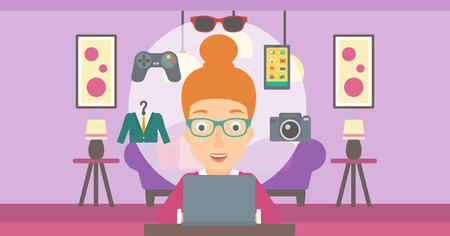 woman laptop: A woman sitting in front of laptop with some icons of goods around her on the background of living room vector flat design illustration. Horizontal layout.