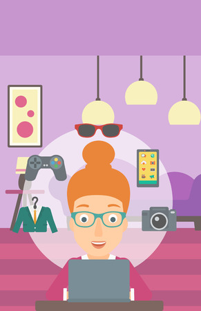 woman laptop: A woman sitting in front of laptop with some icons of goods around her on the background of living room vector flat design illustration. Vertical layout. Illustration