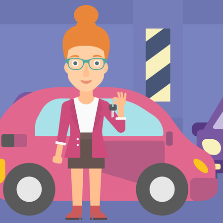 lease: A woman holding keys from her new car on the background of car shop vector flat design illustration. Square layout.