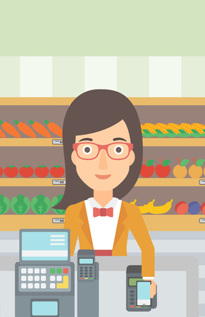 A woman paying with her smartphone using terminal on the background of supermarket shelves with products vector flat design illustration. Vertical layout.