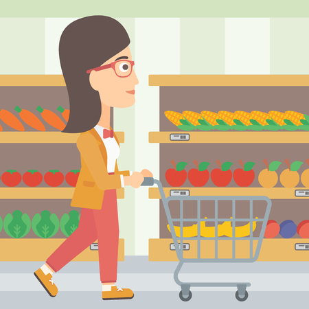 A woman pushing an empty supermarket cart on the background of shelves with products vector flat design illustration. Square layout.