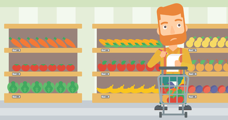 A thoughtful hipster man with the beard standing with full supermarket trolley and holding a shopping list in hands on the background of shelves vector flat design illustration. Horizontal layout.