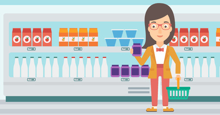 A woman holding a shopping basket in one hand and a milk product in another on the background of supermarket shelves vector flat design illustration. Horizontal layout.