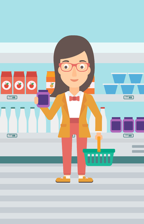grocery shelves: A woman holding a shopping basket in one hand and a milk product in another on the background of supermarket shelves vector flat design illustration. Vertical layout. Illustration