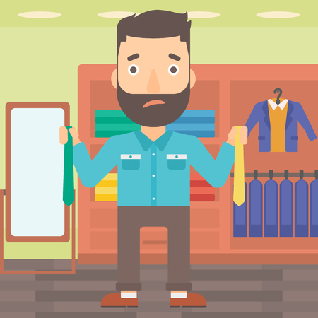 A hipster man with the beard holding two different neckties and trying to choose the best one on the background of clothes store vector flat design illustration. Square layout.