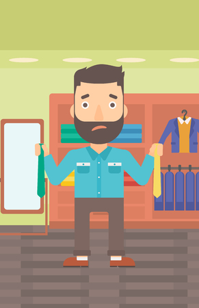 A hipster man with the beard holding two different neckties and trying to choose the best one on the background of clothes store vector flat design illustration. Vertical layout. Illustration