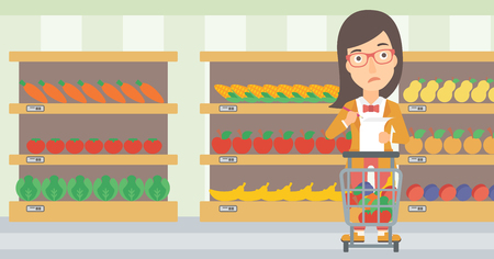 A thoughtful woman standing with full supermarket trolley and holding a shopping list in hands on the background of shelves vector flat design illustration. Horizontal layout.