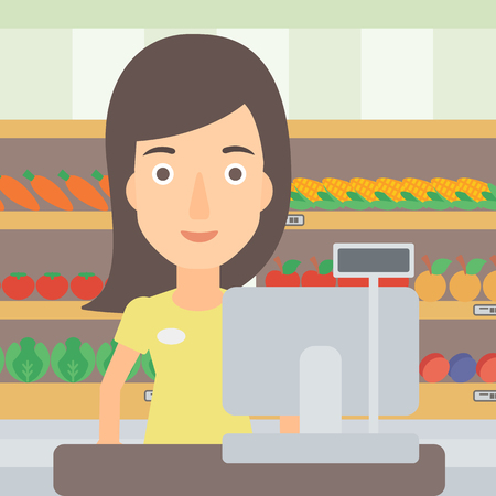 A saleslady standing at checkout on the background of supermarket shelves with products vector flat design illustration. Square layout.