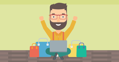 A hipster man with the beard sitting in front of laptop with hands up and some bags of goods nearby on a light green background vector flat design illustration. Horizontal layout.