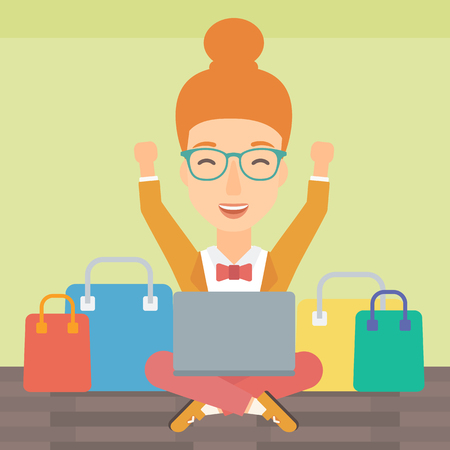 A woman sitting in front of laptop with hands up and some bags of goods nearby on a light green background vector flat design illustration. Square layout. Illustration