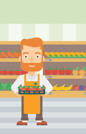 A hipster man with the beard holding a box with apples on the background of shelves with vegetables and fruits in supermarket vector flat design illustration. Vertical layout.