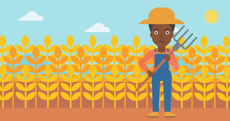 An african-american woman standing with a pitchfork on the background of wheat field vector flat design illustration. Horizontal layout.