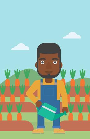 Un homme afro-américain tenant un arrosoir sur le fond des carottes qui poussent sur l'illustration de vecteur design plat de champ. Disposition verticale. Banque d'images - 84474018