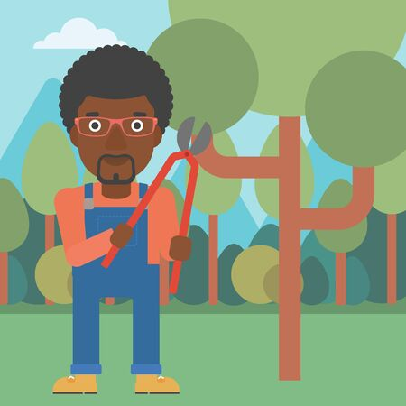 prune: An african-american man holding a pruner on a background of garden with trees vector flat design illustration. Square layout. Illustration
