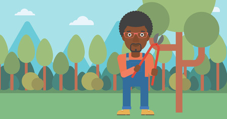 An african-american man holding a pruner on a background of garden with trees vector flat design illustration. Horizontal layout.