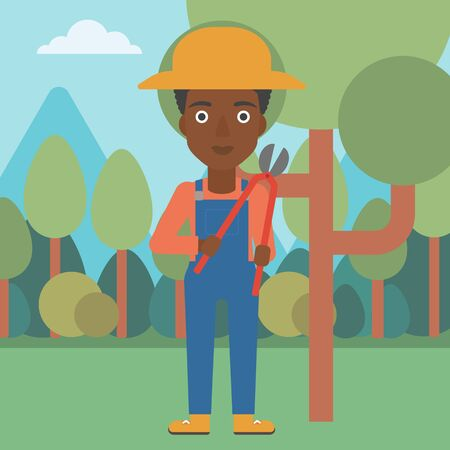 prune: An african-american woman holding a pruner on a background of garden with trees vector flat design illustration. Square layout.