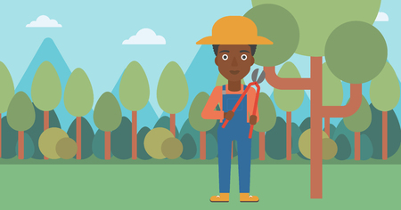 prune: An african-american woman holding a pruner on a background of garden with trees vector flat design illustration. Horizontal layout.
