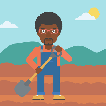 An african-american man with shovel on the background of plowed agricultural field vector flat design illustration. Square layout.
