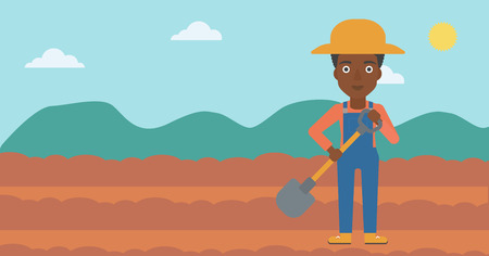 An african-american woman with shovel on the background of plowed agricultural field vector flat design illustration. Horizontal layout. Illustration