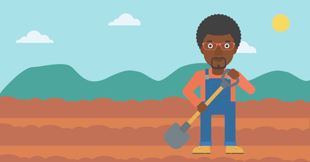 An african-american man with shovel on the background of plowed agricultural field vector flat design illustration. Horizontal layout. Çizim