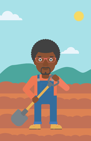 An african-american man with shovel on the background of plowed agricultural field vector flat design illustration. Vertical layout. Çizim