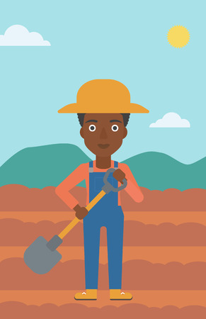 An african-american woman with shovel on the background of plowed agricultural field vector flat design illustration. Vertical layout.