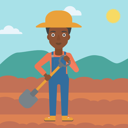 An african-american woman with shovel on the background of plowed agricultural field vector flat design illustration. Square layout. Çizim