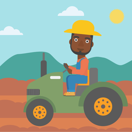 An african-american man driving a tractor on the background of plowed agricultural field vector flat design illustration. Square layout. Illustration
