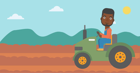 An african-american man driving a tractor on the background of plowed agricultural field vector flat design illustration. Horizontal layout.