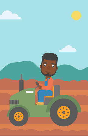 An african-american man driving a tractor on the background of plowed agricultural field vector flat design illustration. Vertical layout.