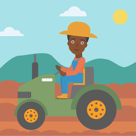 An african-american woman driving a tractor on the background of plowed agricultural field vector flat design illustration. Square layout. Çizim