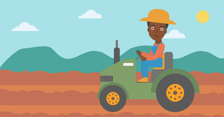 An african-american woman driving a tractor on the background of plowed agricultural field vector flat design illustration. Horizontal layout.
