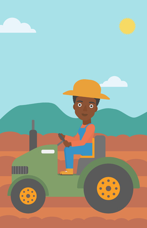 An african-american woman driving a tractor on the background of plowed agricultural field vector flat design illustration. Vertical layout.