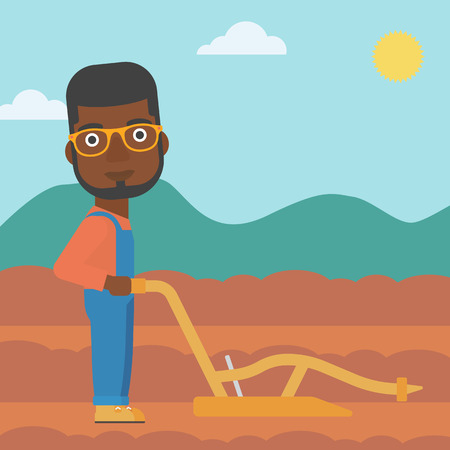 An african-american man using a plough on the background of plowed agricultural field vector flat design illustration. Square layout. Illustration