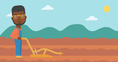 An african-american man using a plough on the background of plowed agricultural field vector flat design illustration. Horizontal layout.