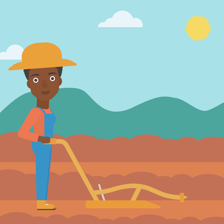 An african-american woman using a plough on the background of plowed agricultural field vector flat design illustration. Square layout. Illustration