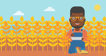 An african-american man checking plants on a field and working on a digital tablet vector flat design illustration. Horizontal layout.