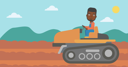 An african-american man driving a tractor on a background of plowed agricultural field vector flat design illustration. Horizontal layout.