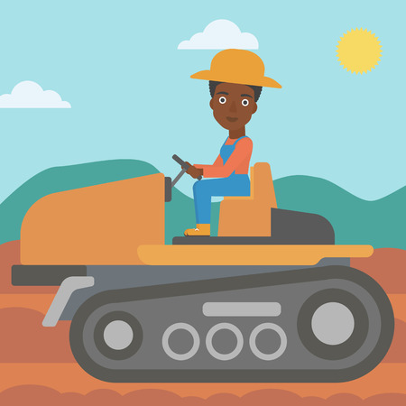 An african-american woman driving a tractor on a background of plowed agricultural field vector flat design illustration. Square layout. Çizim