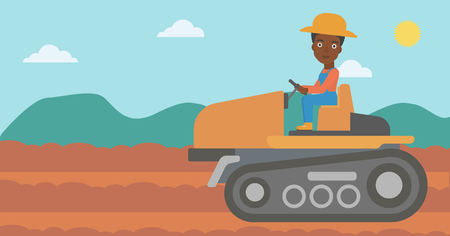An african-american woman driving a tractor on a background of plowed agricultural field vector flat design illustration. Horizontal layout.