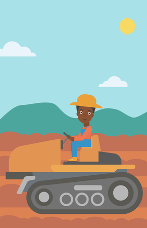 An african-american woman driving a tractor on a background of plowed agricultural field vector flat design illustration. Vertical layout.