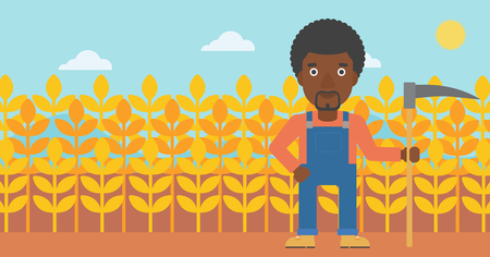 plant stand: An african-american man with a scythe on the background of wheat field vector flat design illustration. Horizontal layout. Illustration