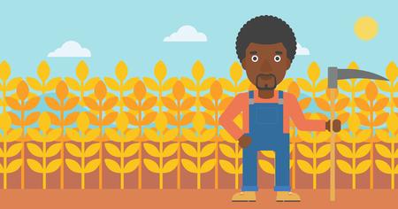 guadaña: Un hombre afroamericano con una guadaña en el fondo del ejemplo plano del diseño del vector del campo de trigo. Diseño horizontal Vectores