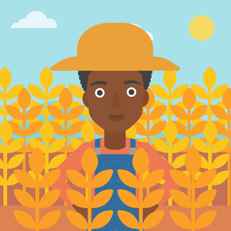 An african-american woman standing in a wheat field vector flat design illustration. Square layout.