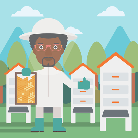 An african-american man wearing protective suit holding a framework in hand and showing thumb up on the background of apiary vector flat design illustration. Square layout.