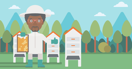 An african-american man wearing protective suit holding a framework in hand and showing thumb up on the background of apiary vector flat design illustration. Horizontal layout.