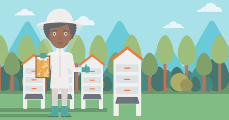 An african-american woman wearing protective suit holding a framework in hand and showing thumb up on the background of apiary vector flat design illustration. Horizontal layout.