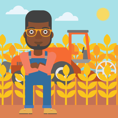 An african-american man standing on the background of combine harvesting wheat vector flat design illustration. Square layout.