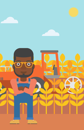An african-american man standing on the background of combine harvesting wheat vector flat design illustration. Vertical layout. Illustration